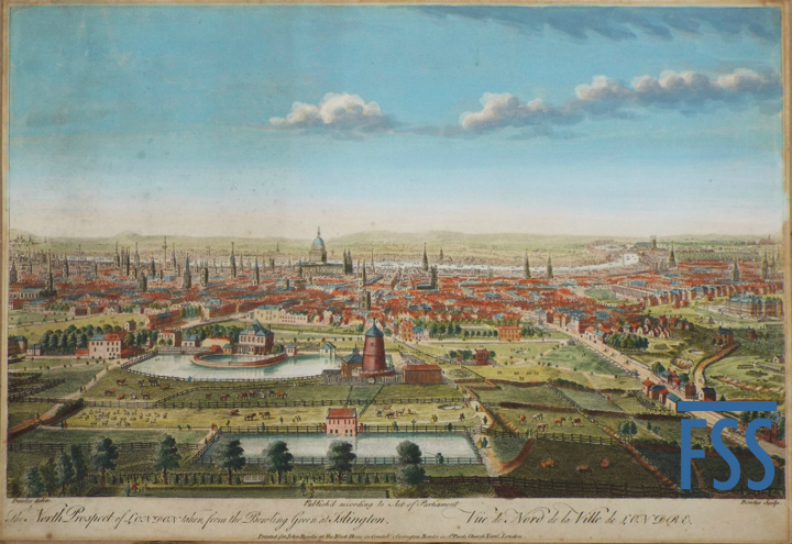 PPaillou North Prospect of London taken from the Bowling Green at Islington. John Bowles 1752-FSS